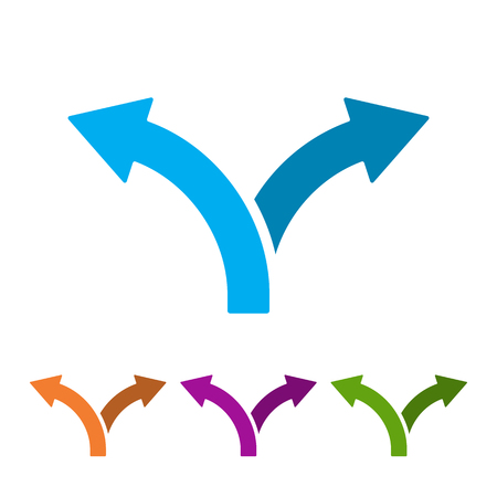 Set of two way direction arrows in flat style. Vector illustration. Road direction icon isolated. 向量圖像