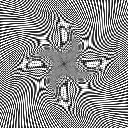 Black and white swirl background. Vector illustration. Abstract swirling radial pattern