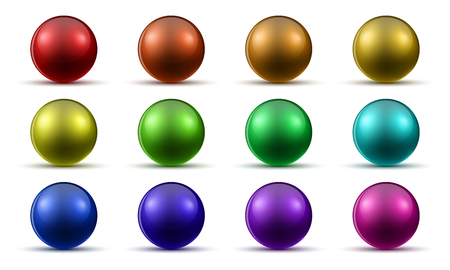 Set of colored realistic balls with shadow. Vector illustration. Glossy bright balls isolated