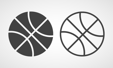Basketball icon in flat style. Vector illustration. Gray Basketball icon isolated 向量圖像