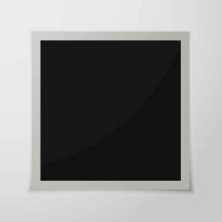Paper photo frame with shadow. Vector illustration. Retro photo frame isolated