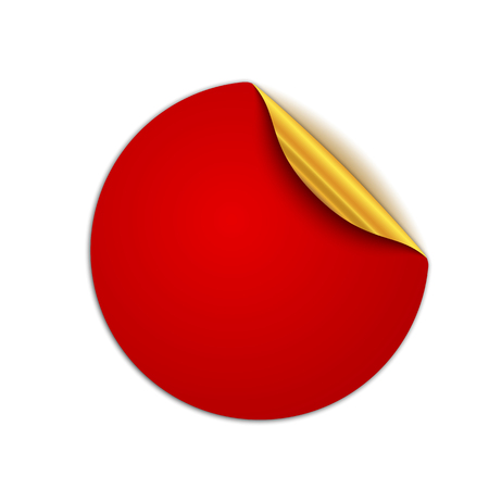 Red round sticker isolated. Vector illustration. Paper label with gold corner. 向量圖像