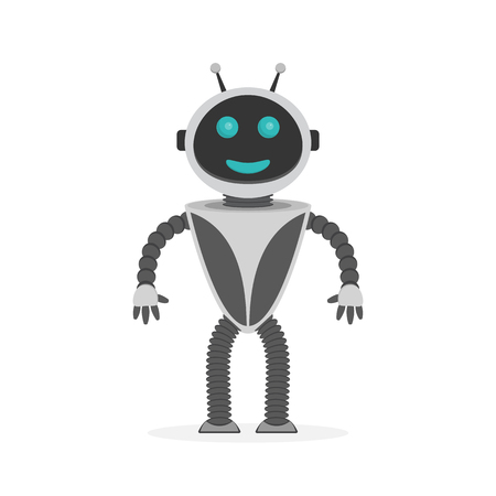 Happy robot in flat style. Vector illustration. Robot icon isolated 向量圖像