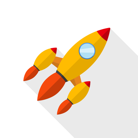 Colored rocket ship icon in flat design. Vector illustration. Simple spaceship icon isolated. 向量圖像