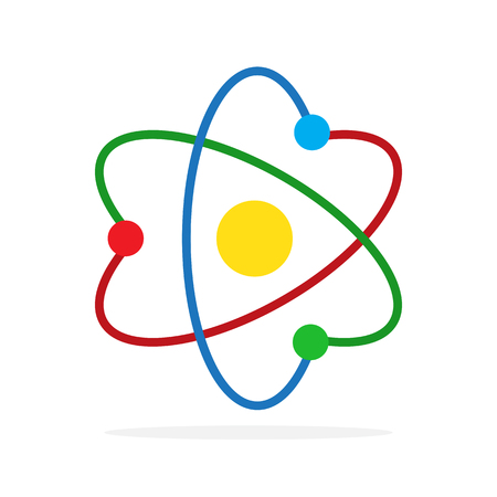 Molecule icon in flat design. Vector illustration. Colored Atom icon isolated