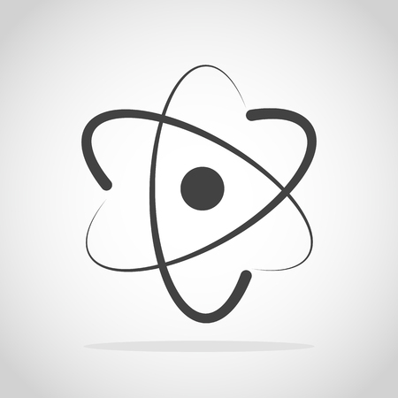 Molecule icon in flat design. Vector illustration. Gray Atom icon isolated