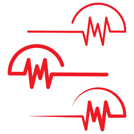 Red heartbeat icons in flat design. Vector illustration. Sign of the electrocardiogram isolated. 向量圖像