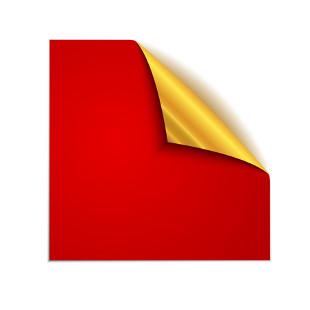 Red square sticker isolated. Vector illustration. Paper label with gold corner.