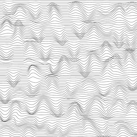 Abstract background with striped chaotic waves. Vector illustration. Monochrome background 向量圖像