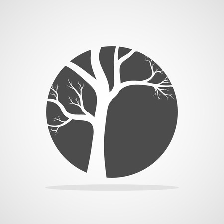 Gray tree round icon in flat design. Vector illustration. Abstract tree in the shape of a circle, isolated Illustration