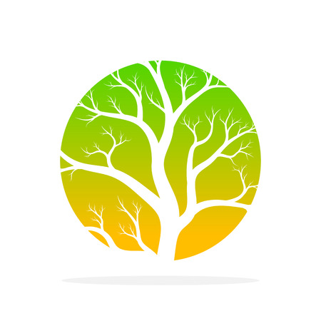 Green tree round icon in flat design. Vector illustration. Abstract tree in the shape of a circle, isolated