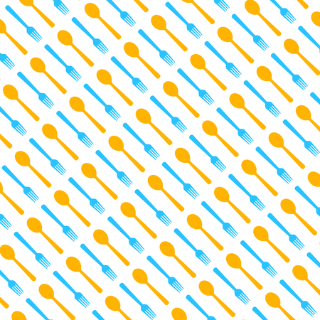 Pattern with spoons and forks. Vector illustration. Abstract menu background.