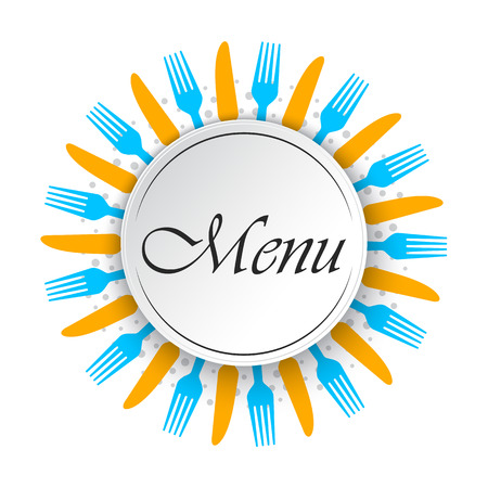 Abstract menu background with knifes and forks. Vector illustration. Round empty background for restaurant menu.