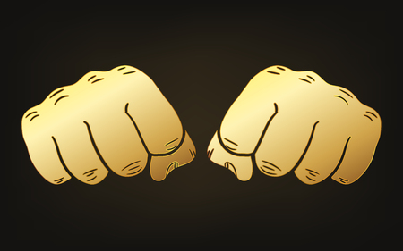 Gold fists icon. Vector illustration. Abstract glossy fists icons Ilustracja