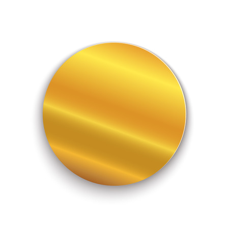 Golden circle plate. Vector illustration. Golden metal round medal, isolated