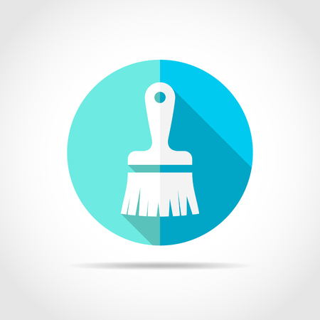 White paint brush icon in flat design with long shadow. Vector illustration. Simple paint brush icon on blue round button. Illustration
