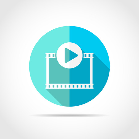 Play Video button in flat design with long shadow. Vector Illustration. Play film icon isolated