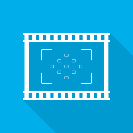 Film icon in flat design. Vector illustration. Movie icon, isolated. Play Video icon