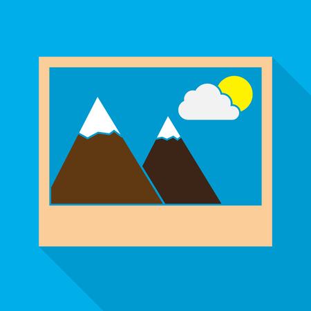 Photo icon in flat design. Vector illustration. Colored picture icon on blue background