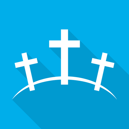 Calvary icon with long shadow. Vector illustration. White Calvary sign on blue background.