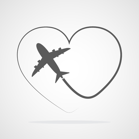 Flight of the plane and its way in the shape of a heart. Vector illustration. Concept of travel Vektorové ilustrace