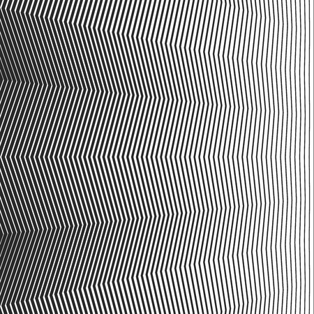 Abstract linear pattern. Vector illustration. Black background with wave lines