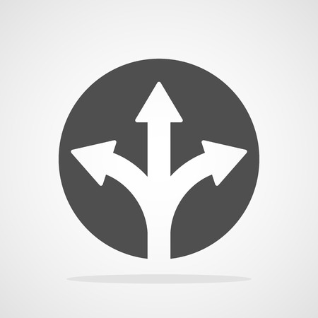 Three-way direction arrow isolated. Vector illustration. Flat round button