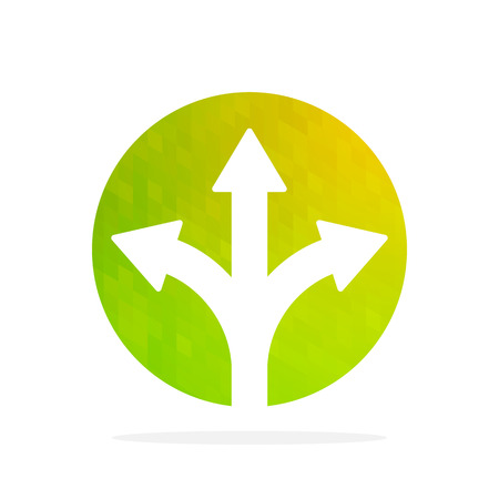 Three-way direction arrow isolated. Vector illustration. Colorful round button