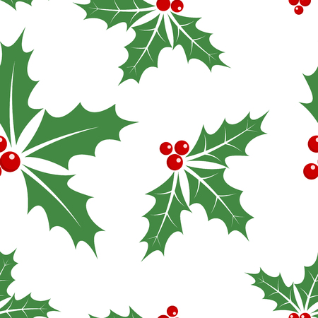 Christmas seamless pattern with holly berry leaves. Vector illustration. Abstract cute background