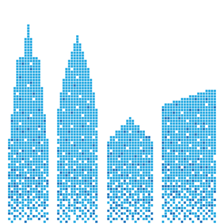 Pixel art design of building. Vector illustration. Abstract blue buildings in pixel style