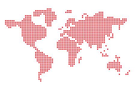 Pixel art design della mappa del mondo. Illustrazione vettoriale. Mappa del mondo rossa in stile pixel
