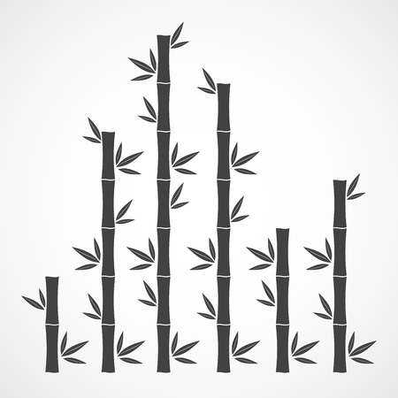 Black bamboo branches and leaves. Vector illustration. Bamboo stems. Bamboo icon. Illustration