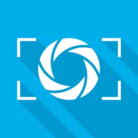 Focus icon. Vector illustration. Aperture diaphragm icon. Camera icon isolated Ilustrace