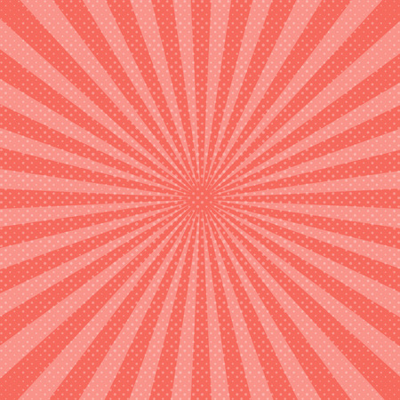 Abstract pink sunbeams background. Vector illustration. Living Coral - trendy color 2019 year.