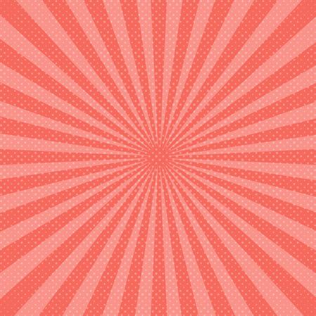 Fondo abstracto de rayos de sol rosa. Ilustración de vector. Living Coral - color de moda año 2019.