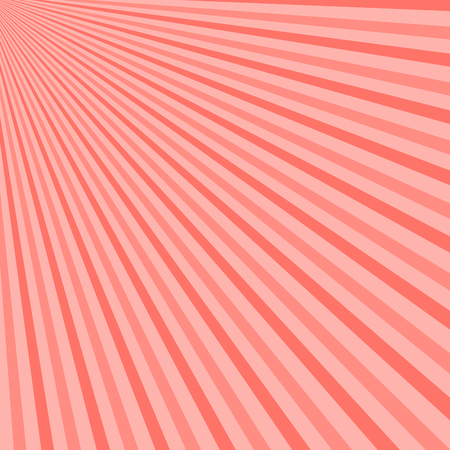 Abstract sunbeams background. Vector illustration. Pink Coral - trendy color