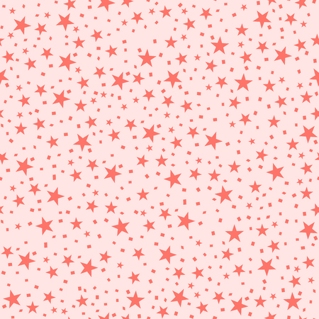 Abstract seamless stars background. Vector illustration. Living Coral - trendy color 2019 year. Illustration