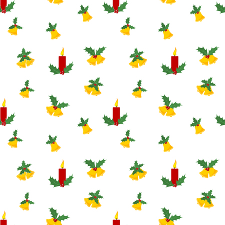 Christmas seamless pattern with bells and candles. Vector illustration. Abstract cute background Ilustração
