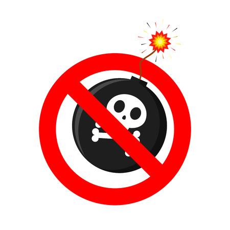 No Bomb icon. No War sign. Vector illustration. Forbidden bomb icon isolated Illustration