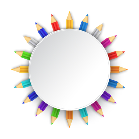 White background with multicolor pencils. Vector illustration. Rounded frame with colored pencils.