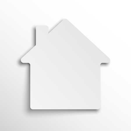 Paper House icon. Vector illustration. Paper sticker in the shape of a house. Concept of construction
