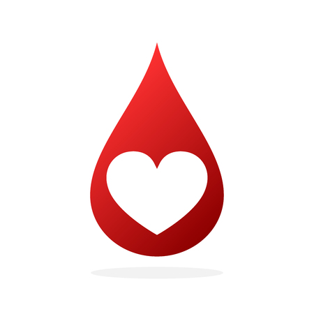 Red blood drop with heart shape. Vector illustration. Blood donation icon isolated