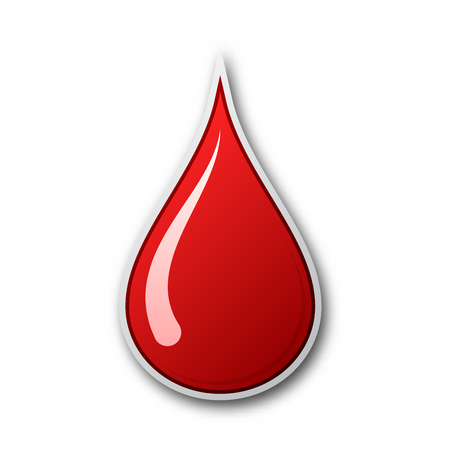 Red blood drop icon. Vector illustration. The concept of donating blood. Blood drop isolated
