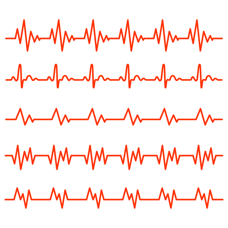 Red heartbeat icons in flat design. Vector illustration. Sign of the electrocardiogram isolated. Illustration