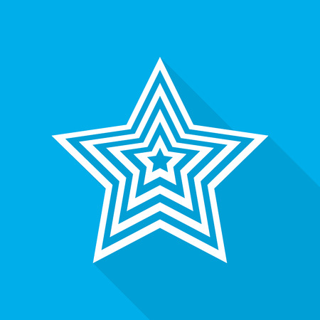 White star icon in flat design. Star on blue background with long shadow. Vector illustration.