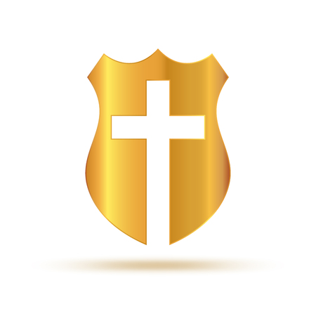 Shield with Christian Cross. Vector illustration. Creative gold Christian icon isolated. Stock Illustratie