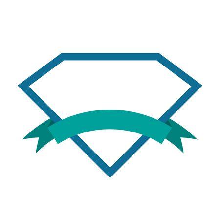 Vector Diamond icon isolated. Diamond logo in flat design. Diamond with ribbon Illustration