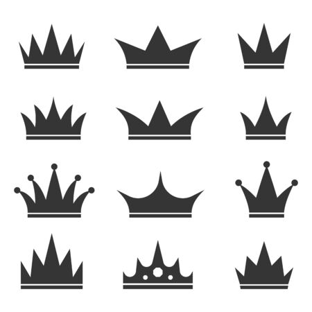 Set of Crown icons. Vector illustration. Black royal Crown icons isolated. Illustration