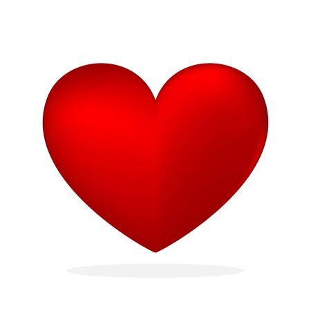 Icono de corazón - vector. Icono de corazón 3D. Símbolo de amor aislado
