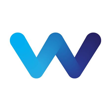 Abstract blue letter W. Letter W logo icon, isolated. Color vector letter W.